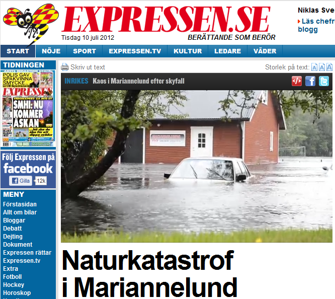 Översvämning, Mariannelund Småland