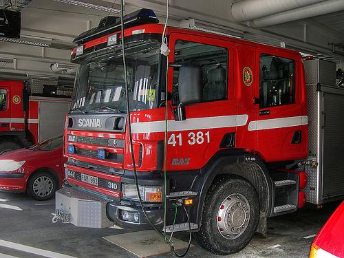 Bild på brandbil i Nora, Örebro