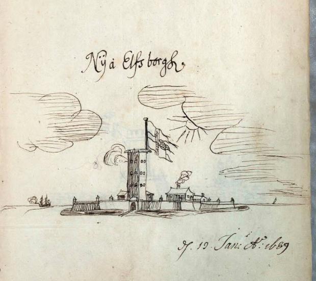Teckning av Nya Älvsborgs fästning